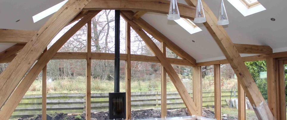 Green oak frame sun lounge. Aberdeenshire.