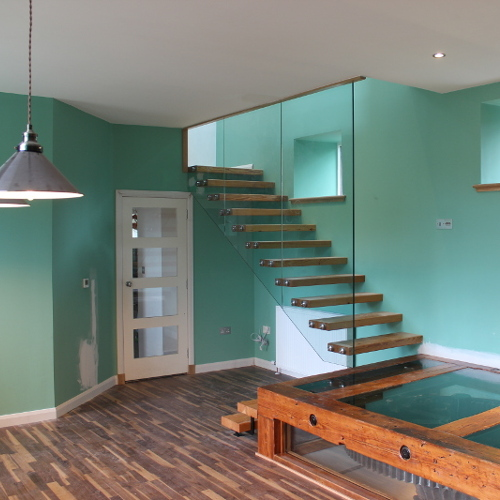 Structural glass staircase, Aberdeenshire