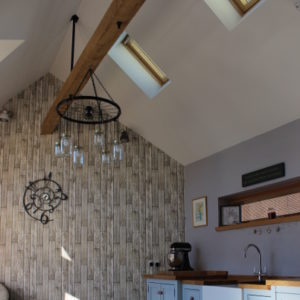 Wooden beam feature in kitchen